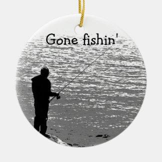 Fishing at the Lake Ceramic Ornament