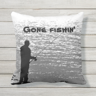 Fishing at the Lake Sports Outdoor Pillow