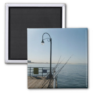 Fishing at The Santa Monica Pier 2 Inch Square Magnet