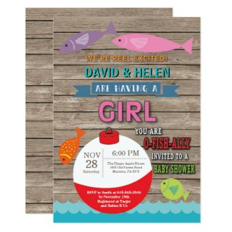 Fishing Baby Shower Invitation Girl Fish