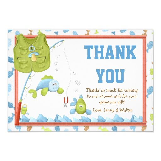 Fishing Baby Shower Thank You Card 3 5 X 5 Invitation