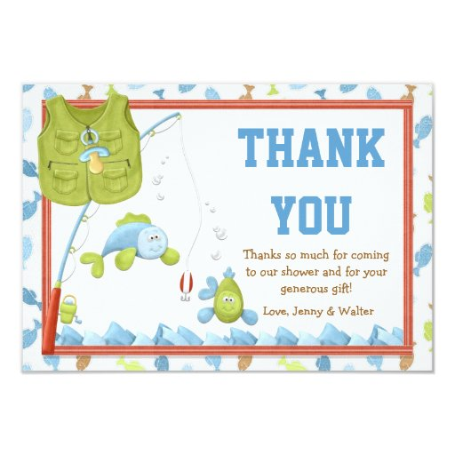 fishing baby shower thank you card zazzle