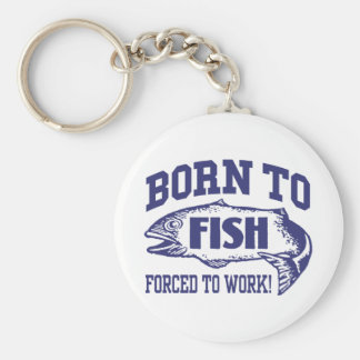 Fishing Basic Round Button Keychain