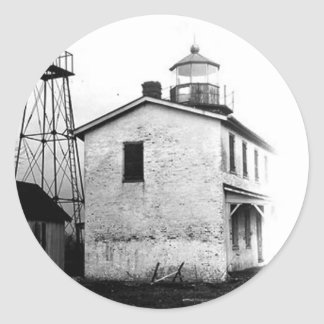 Fishing Battery Lighthouse Classic Round Sticker