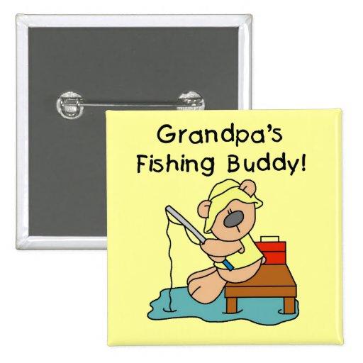 Fishing-Bear Grandpa's Fishing Buddy Tshirts 2 Inch Square Button