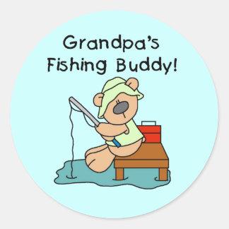 Fishing-Bear Grandpa's Fishing Buddy Tshirts Classic Round Sticker