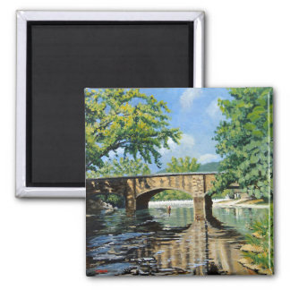 Fishing Bennett  Spring Landscape Acrylic Painting 2 Inch Square Magnet