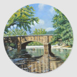 Fishing Bennett  Spring Landscape Acrylic Painting Round Stickers