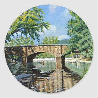 Fishing Bennett  Spring Landscape Acrylic Painting Classic Round Sticker