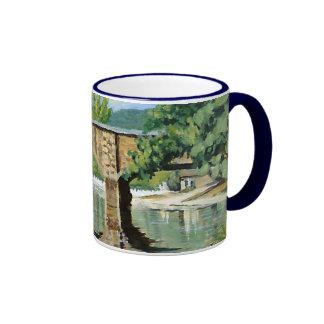Fishing Bennett Springs Landscape Acrylic Painting Ringer Coffee Mug