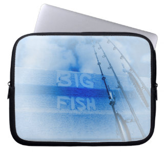 Fishing big fish blue and white rods dream of fish computer sleeve