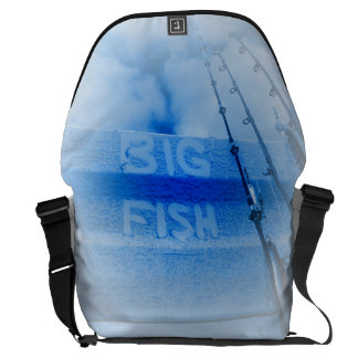 Fishing big fish blue and white rods dream of fish courier bag