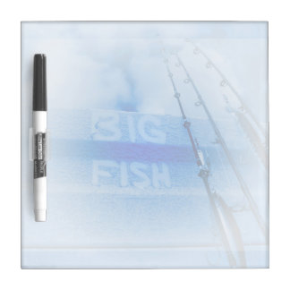 Fishing big fish blue and white rods dream of fish Dry-Erase board