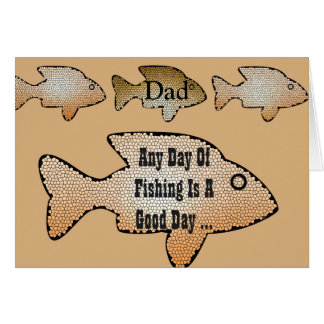 Fishing birthday for a dad, 4 fish on front. card