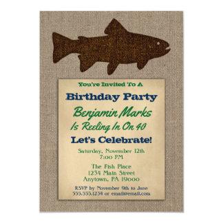 Fishing Birthday Invitation Rustic Adult Mens Fish
