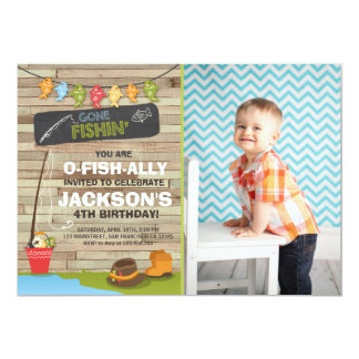 Fishing Birthday Invitation Wood Fishing party