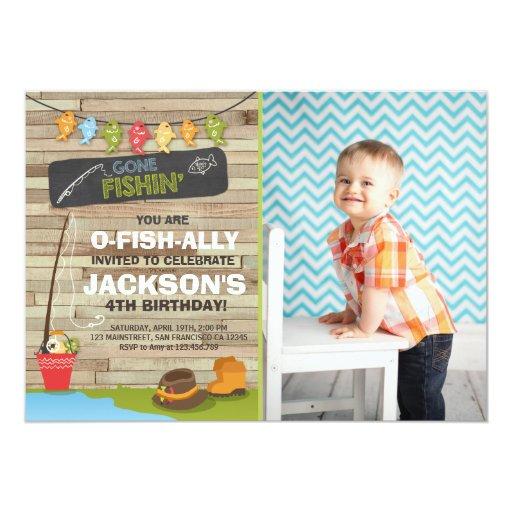 Fishing birthday invitation wood fishing party zazzle for Fishing birthday party invitations