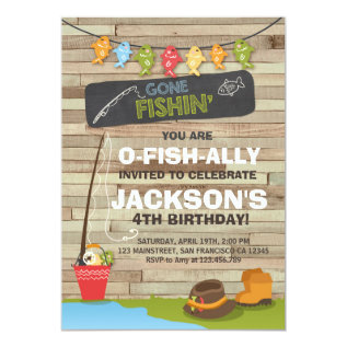 Fishing Birthday Invitation Wood Fishing Party at Zazzle