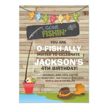 birthday Fishing Birthday Invitation Wood Fishing party