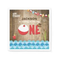 Fishing Birthday Paper Napkin Reeling the big one
