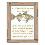 "Fishing Birthday Party Boys Invitation 4.25"" X 5.5"" Invitation Card"