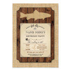 Fishing Birthday Party Rustic Wood Fish Rod Invite