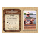 Fishing Birthday Party Wood Fish Rod Photo Invite