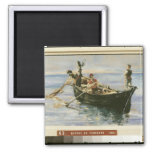 Fishing Boat, 1881 2 Inch Square Magnet