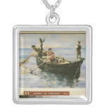 Fishing Boat, 1881 Silver Plated Necklace