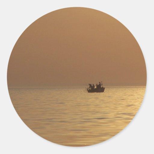 Fishing Boat 2 Classic Round Sticker