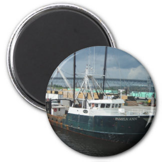 Fishing Boat 2 Inch Round Magnet
