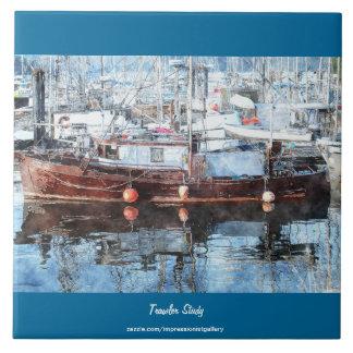 "Fishing Boat 2 Watercolour Art 6"" Decorative Tile"