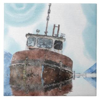"Fishing Boat 4 Watercolour Art 6"" Decorative Tile"