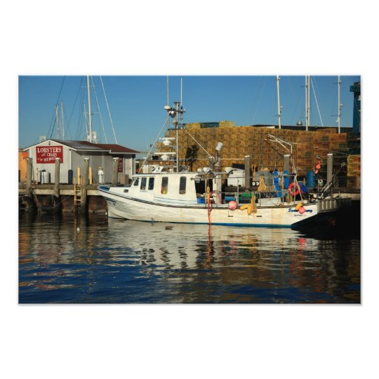 Fishing Boat and docks, Newport, Rhode Island Photo Print