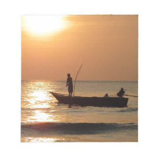 Fishing boat and sunset memo notepad