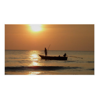 Fishing boat and sunset posters