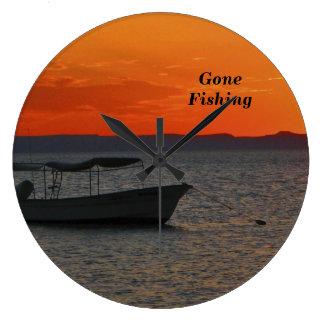 Fishing Boat at Sunset Clock, Large Round Large Clock