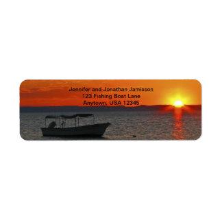Fishing Boat at Sunset Return Address Labels