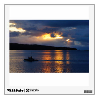 Fishing boat at sunset sticker