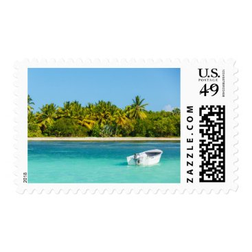 Beach Themed Fishing Boat at Tropical Coastal Ocean Stamp
