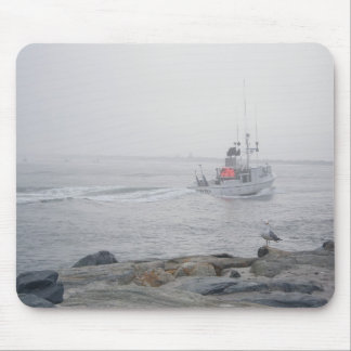 Fishing Boat Barnegat Inlet in Fog Mousepad IBSP