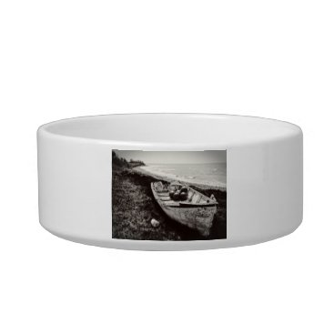Beach Themed Fishing Boat black and white Bowl