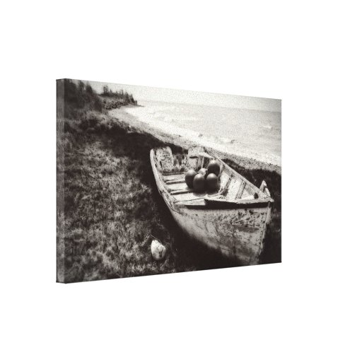 Fishing boat black and white canvas prints zazzle Black and white canvas art