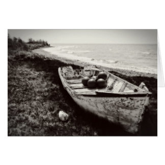Fishing Boat black and white Card