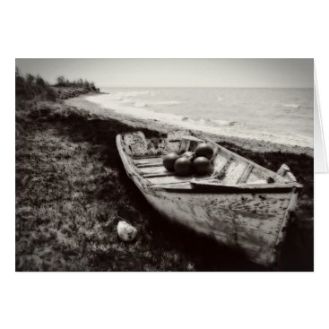 Beach Themed Fishing Boat black and white Card