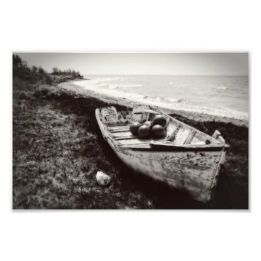 Beach Themed Fishing Boat black and white Photo Print