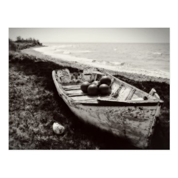 Beach Themed Fishing Boat black and white Postcard