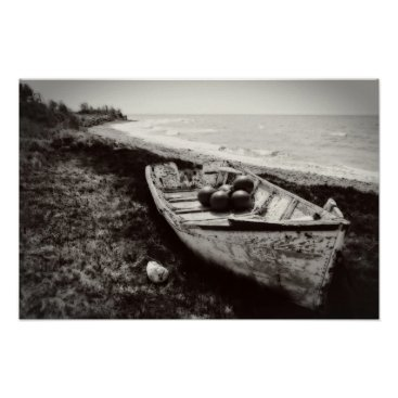 Beach Themed Fishing Boat black and white Poster
