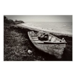 Fishing Boat black and white Posters