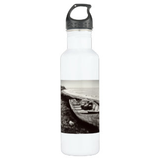 Fishing Boat black and white Water Bottle